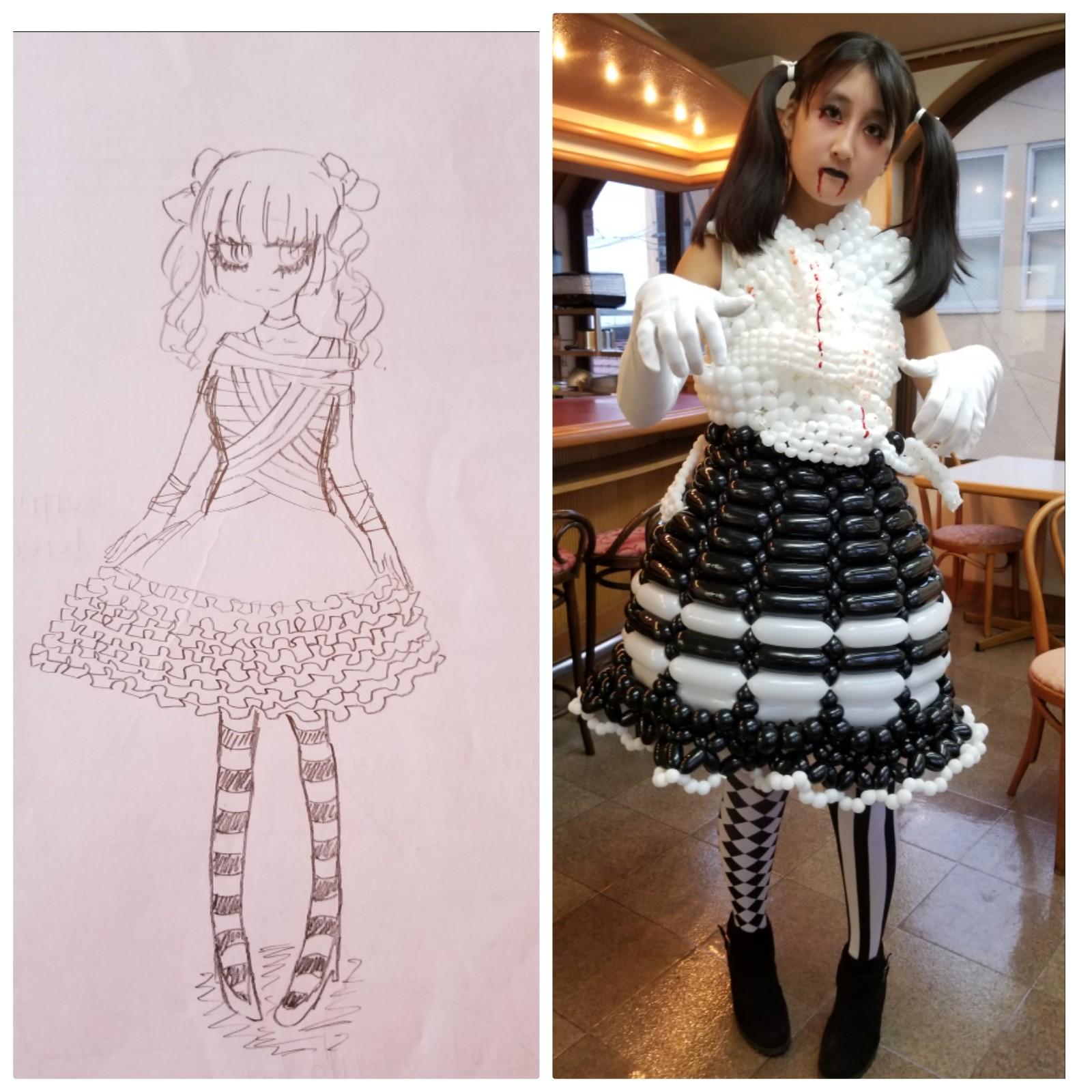 ロリータファッションのゾンビハロウィンのバルーンドレス作ったよ
